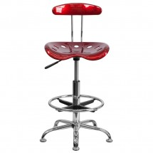 Flash Furniture LF-215-WINERed-GG Vibrant Wine Red and Chrome Drafting Stool with Tractor Seat addl-3
