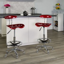 Flash Furniture LF-215-WINERed-GG Vibrant Wine Red and Chrome Drafting Stool with Tractor Seat addl-4