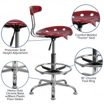 Flash Furniture LF-215-WINERed-GG Vibrant Wine Red and Chrome Drafting Stool with Tractor Seat addl-5