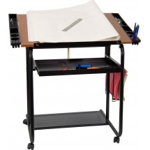 Flash Furniture NAN-JN-2739-GG Adjustable Drawing and Drafting Table with Black Frame and Dual Wheel Casters addl-1