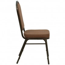 Flash Furniture NG-C01-COFFEE-GV-GG HERCULES Series Crown Back Stacking Banquet Chair with Coffee Fabric - Gold Vein Frame addl-4