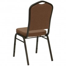 Flash Furniture NG-C01-COFFEE-GV-GG HERCULES Series Crown Back Stacking Banquet Chair with Coffee Fabric - Gold Vein Frame addl-1