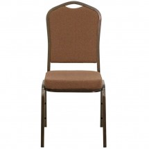 Flash Furniture NG-C01-COFFEE-GV-GG HERCULES Series Crown Back Stacking Banquet Chair with Coffee Fabric - Gold Vein Frame addl-2