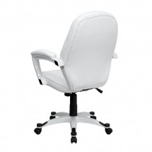 Flash Furniture QD-5058M-WHITE-GG Mid-Back White Leather Executive Office Chair addl-1