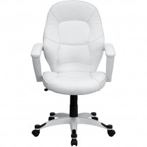 Flash Furniture QD-5058M-WHITE-GG Mid-Back White Leather Executive Office Chair addl-2