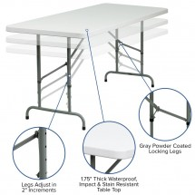 Flash Furniture RB-3072ADJ-GG 30 x 72 Height Adjustable Granite White Plastic Folding Table addl-5