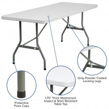 Flash Furniture RB-3072-GG 30 x 72 Granite White Plastic Folding Table addl-2