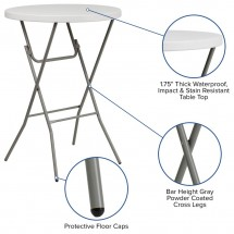 Flash Furniture RB-32RB-BAR-GW-GG 32 Round Granite White Plastic Bar Height Folding Table addl-2