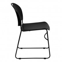 Flash Furniture RUT-188-BK-GG HERCULES Series 880 lb. Capacity Black High Density Ultra Compact Stack Chair with Black Frame addl-5