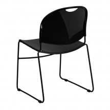 Flash Furniture RUT-188-BK-GG HERCULES Series 880 lb. Capacity Black High Density Ultra Compact Stack Chair with Black Frame addl-1
