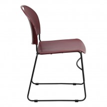 Flash Furniture RUT-188-BY-GG HERCULES Series 880 lb. Capacity Burgundy High Density Ultra Compact Stack Chair with Black Frame addl-4