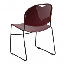 Flash Furniture RUT-188-BY-GG HERCULES Series 880 lb. Capacity Burgundy High Density Ultra Compact Stack Chair with Black Frame addl-1
