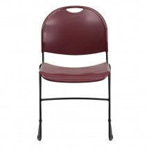 Flash Furniture RUT-188-BY-GG HERCULES Series 880 lb. Capacity Burgundy High Density Ultra Compact Stack Chair with Black Frame addl-2