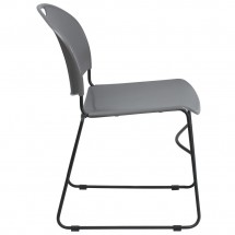 Flash Furniture RUT-188-GY-GG HERCULES Series 880 lb. Capacity Gray High Density Ultra Compact Stack Chair with Black Frame addl-5