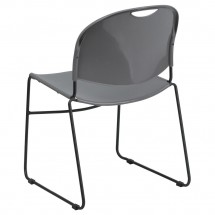 Flash Furniture RUT-188-GY-GG HERCULES Series 880 lb. Capacity Gray High Density Ultra Compact Stack Chair with Black Frame addl-1