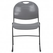 Flash Furniture RUT-188-GY-GG HERCULES Series 880 lb. Capacity Gray High Density Ultra Compact Stack Chair with Black Frame addl-2