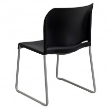 Flash Furniture RUT-238A-BK-GG HERCULES Series 880 lb. Capacity Black Full Back Contoured Stack Chair with Sled Base addl-1