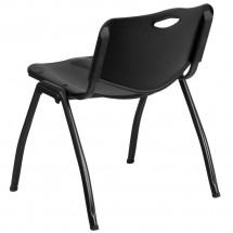Flash Furniture RUT-D01-BK-GG HERCULES Series 880 lb. Capacity Black Polypropylene Stack Chair addl-1
