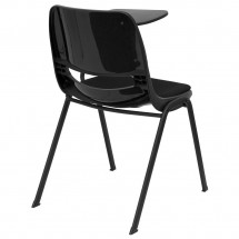 Flash Furniture RUT-EO1-01-PAD-LTAB-GG Padded Black Ergonomic Shell Chair with Left Handed Flip-Up Tablet Arm addl-1