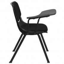Flash Furniture RUT-EO1-01-PAD-RTAB-GG Padded Black Ergonomic Shell Chair with Right Handed Flip-Up Tablet Arm addl-5