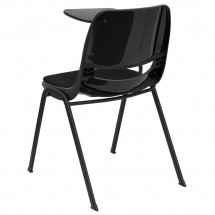 Flash Furniture RUT-EO1-01-PAD-RTAB-GG Padded Black Ergonomic Shell Chair with Right Handed Flip-Up Tablet Arm addl-1