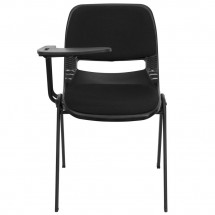 Flash Furniture RUT-EO1-01-PAD-RTAB-GG Padded Black Ergonomic Shell Chair with Right Handed Flip-Up Tablet Arm addl-2