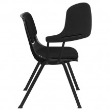 Flash Furniture RUT-EO1-01-PAD-RTAB-GG Padded Black Ergonomic Shell Chair with Right Handed Flip-Up Tablet Arm addl-6