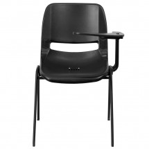 Flash Furniture RUT-EO1-BK-LTAB-GG Black Ergonomic Shell Chair with Left Handed Flip-Up Tablet Arm addl-1