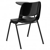 Flash Furniture RUT-EO1-BK-RTAB-GG Black Ergonomic Shell Chair with Right Handed Flip-Up Tablet Arm addl-1