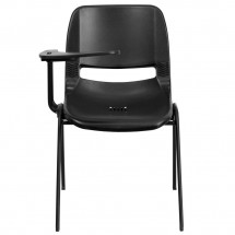Flash Furniture RUT-EO1-BK-RTAB-GG Black Ergonomic Shell Chair with Right Handed Flip-Up Tablet Arm addl-2