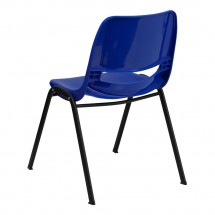 Flash Furniture RUT-EO1-BL-GG HERCULES Series 880 lb. Capacity Blue Ergonomic Shell Stack Chair addl-1