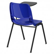 Flash Furniture RUT-EO1-BL-LTAB-GG Blue Ergonomic Shell Chair with Left Handed Flip-Up Tablet Arm addl-1