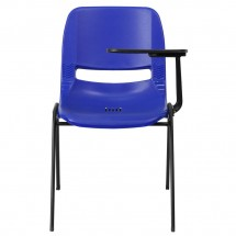 Flash Furniture RUT-EO1-BL-LTAB-GG Blue Ergonomic Shell Chair with Left Handed Flip-Up Tablet Arm addl-2