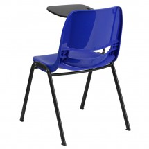 Flash Furniture RUT-EO1-BL-RTAB-GG Blue Ergonomic Shell Chair with Right Handed Flip-Up Tablet Arm addl-1