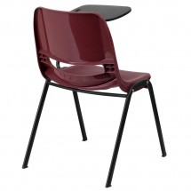Flash Furniture RUT-EO1-BY-LTAB-GG Burgundy Ergonomic Shell Chair with Left Handed Flip-Up Tablet Arm addl-1