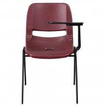 Flash Furniture RUT-EO1-BY-LTAB-GG Burgundy Ergonomic Shell Chair with Left Handed Flip-Up Tablet Arm addl-2