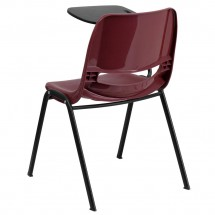 Flash Furniture RUT-EO1-BY-RTAB-GG Burgundy Ergonomic Shell Chair with Right Handed Flip-Up Tablet Arm addl-1