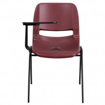 Flash Furniture RUT-EO1-BY-RTAB-GG Burgundy Ergonomic Shell Chair with Right Handed Flip-Up Tablet Arm addl-2