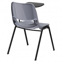 Flash Furniture RUT-EO1-GY-LTAB-GG Gray Ergonomic Shell Chair with Left Handed Flip-Up Tablet Arm addl-1