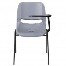Flash Furniture RUT-EO1-GY-LTAB-GG Gray Ergonomic Shell Chair with Left Handed Flip-Up Tablet Arm addl-2
