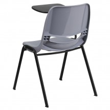 Flash Furniture RUT-EO1-GY-RTAB-GG Gray Ergonomic Shell Chair with Right Handed Flip-Up Tablet Arm addl-1