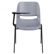 Flash Furniture RUT-EO1-GY-RTAB-GG Gray Ergonomic Shell Chair with Right Handed Flip-Up Tablet Arm addl-2