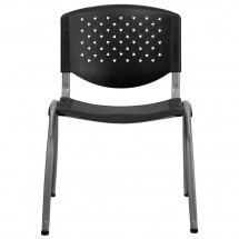 Flash Furniture RUT-F01A-BK-GG HERCULES Series 880 lb. Capacity Black Polypropylene Stack Chair with Titanium Frame Finish addl-2
