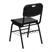 Flash Furniture RUT-GK01-BK-BAS-GG HERCULES Series 880 lb. Capacity Black Plastic Chair with Black Powder Coated Frame and Book Basket addl-1