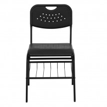 Flash Furniture RUT-GK01-BK-BAS-GG HERCULES Series 880 lb. Capacity Black Plastic Chair with Black Powder Coated Frame and Book Basket addl-2