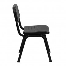 Flash Furniture RUT-GK01-BK-GG HERCULES Series 880 lb. Capacity Black Plastic Stack Chair with Black Powder Coated Frame addl-4