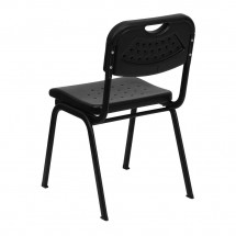 Flash Furniture RUT-GK01-BK-GG HERCULES Series 880 lb. Capacity Black Plastic Stack Chair with Black Powder Coated Frame addl-1