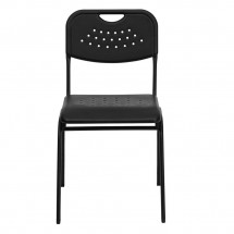 Flash Furniture RUT-GK01-BK-GG HERCULES Series 880 lb. Capacity Black Plastic Stack Chair with Black Powder Coated Frame addl-2