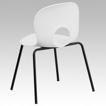 Flash Furniture RUT-NC258-WHITE-GG HERCULES Series 770 lb. Capacity Designer White Plastic Stack Chair with Black Powder Coated Frame Finish addl-1