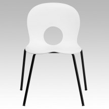 Flash Furniture RUT-NC258-WHITE-GG HERCULES Series 770 lb. Capacity Designer White Plastic Stack Chair with Black Powder Coated Frame Finish addl-2